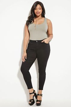 Forever 21+ - A pair of skinny jeans with slanted front pockets, back patch pockets, and a zip fly. #nowtrending