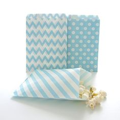 ** A special product just for you. See it now!: Blue Candy Bags, Birthday Goody Bag Ideas, Winter Frozen Snowflake Gift Bags, Favor Bags, 75 Pack - Light Blue Striped, Polka Dot and Chevron Bags at Christmas Tag, Cards, Gift Boxes.