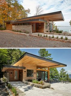 This cottage has a contemporary design featuring large roof overhangs, 13ft (4m) ceiling heights with Douglas Fir wood ceilings and soffits, and exposed timber joists. #Cottage #ModernCottage #Architecture #CantileveredRoof