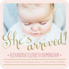 Dazzling Arrival - Girl Photo Birth Announcements - Petite Alma - Chenille - Pink : Front