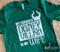 My Favorite Disney Villain is My Wife, Maleficent T-Shirt Funny Personalize Custom, Funny Shirt, Personalized, Any Color, Customize, Gift - Youth Crew - S