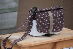 Kid  Toddler Messenger Bag  Brown Cord w/Flowers by ThePierMarket