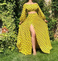 Comanda Acum Compleu bluza si fusta lunga - Vara | compleu galben #rochie #fusta #bluza #romania #instafashion
