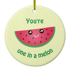 Shop One In A Melon Funny Kawaii Watermelon Christmas Ceramic Ornament created by littleteapotdesigns.