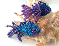 Blue Fish 3D Beadwoven Friends Kit and Tutorial by SkunkHillStudio
