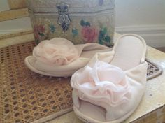 Sweet Vintage Pale Pink Slippers Ladies by nanciesvintagenest, $22.00