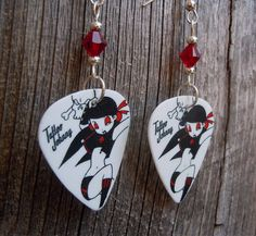 Red and Black Rocker Girl with Spades Guitar Pick Earrings with Red Crystals