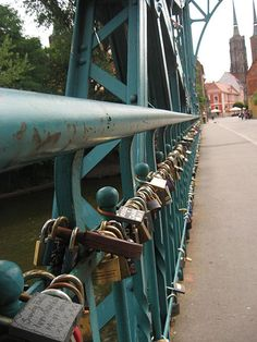 Padlocks on the Tumski Bridge. Each represents a promise between two lovers.