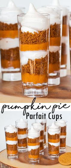 These no-bake pumpkin pie shooters are the perfect dessert for any fall festival, holiday or gathering! This dessert is made with three layers of yumminess: ginger snap cookie crumbs, vanilla marshmallow meringue and of course, no-bake pumpkin pie filling Parfait Desserts, Mini Desserts, Shot Glass Desserts, Fall Desserts, Party Desserts, Healthy Desserts, No Bake Pumpkin Pie, Baked Pumpkin, Pumpkin Dessert