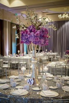 Photo: Janet Howard Studio; Glam Old Hollywood Atlanta Wedding at Intercontinental Buckhead - wedding centerpiece.