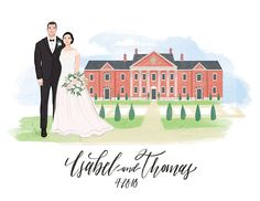Wedding Venue Portrait Custom Illustrated Couple Portrait - Anniversary or Guest Book Alternative 8.5x11 - digital file or printed copy