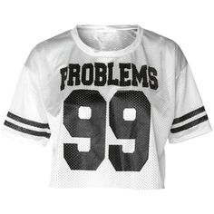 Athletic Jersey Cropped Tee, 'PROBLEMS 99' White ($13) ❤ liked on Polyvore featuring tops, t-shirts, crop top, crop t shirt, striped crop tee, crop tee и striped crop top