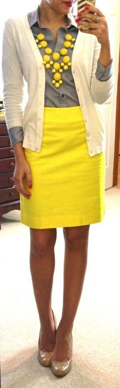 bright yellow skirt, gray button down, cream cardigan, bright yellow bauble necklace, nude heels