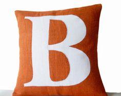 Orange Pillows -Personalized Monogram throw pillow- Burlap pillows- Orange White cushion -initial pillow -Decorative throw pillows- 16x16 27.00