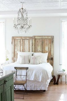 Two old doors as a head board