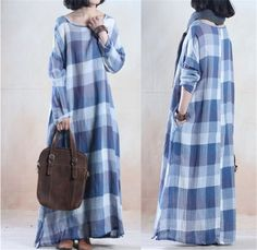 Women linen loose fitting long sleeve dress - Buykud