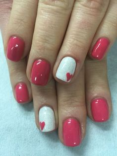 Who\'s Concerned About Valentine\'s Day Nails Gel Sparkle And Why You Need To Be Paying Attention 85 - apik Heart Nail Designs, Valentine's Day Nail Designs, Nails Design, Art Designs, Sns Nails Colors, Pink Nails, Sparkle Nails, White Nails, Gel Nail Art