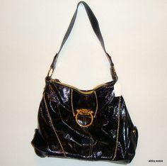 NWOT BABY PHAT - BLACK PATENT LEATHER BAG W/ GOLD HARDWARE SZ M