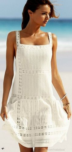 white summer dress ~ beautiful idea for embroidery on clothing