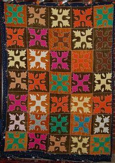 Colorful Vintage Oak Reel  Wool Applique Folk Art Antique Quilt   eBay