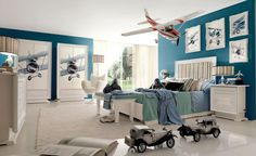 Cozy Red White And Blue Denim Themed Boys Room Room Decorating ...