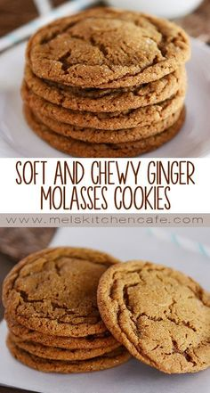 These soft and chewy ginger molasses cookies are still amazingly chewy straight out of the freezer! These soft and chewy ginger molasses cookies are still amazingly chewy straight out of the freezer! Köstliche Desserts, Delicious Desserts, Dessert Recipes, Fall Cookie Recipes, Freezer Desserts, Soft Cookie Recipe, Dinner Recipes, Holiday Baking, Christmas Baking