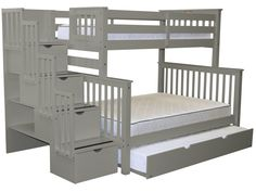 Bunk Beds Twin over Full Stairway Gray   Full Trundle $998