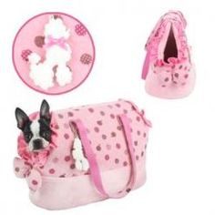 """Bolso para Mascotas """"Oh la lá"""" Pink Animals And Pets, Cute Animals, Pet Bag, Happy Puppy, Dog Carrier, Animal Fashion, Holidays And Events, Dog Toys, Dog Training"""