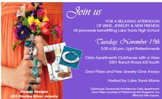 Join us at Cielo Apartment Homes for a relaxing afternoon of wine, jewelry & new friends. All proceeds benefitting Lake Travis High School. Tuesday November 19th, from 3:30-6:30 P.M. Everyone is welcome!