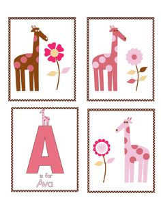 Giraffe nursery prints Personalized giraffe Nursery art prints Mod Giraffe set of 4 8x10 prints/ 4 piece set/ pink and brown nursery decor on Etsy, $35.00