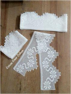 Crochet Borders, Filet Crochet, Crochet Doilies, Crochet Stitches, Collar Designs, Lace Collar, S Pic, Lace Trim, Diy And Crafts
