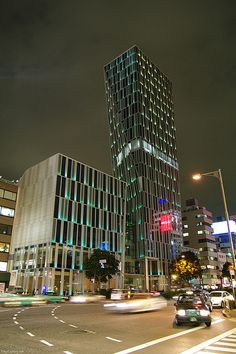Kinokuniya Aoyama (AO Building) at Night - Tokyo, Japan;  photo by tokyofashion, via Flickr