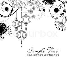 Stock vector of 'Stylish floral background with chinese lanterns'