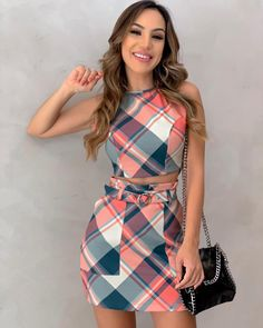 Grid Print Crop Top & Skirt Sets trendiest dresses for any occasions, special event dresses, accessories and women clothing. Crop Top Outfits, Mode Outfits, Casual Outfits, Trend Fashion, Womens Fashion, Fashion Sets, Latest Fashion, Fashion Online, Teenager Mode
