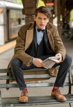 bow tie, college fashion, grey 3-piece, men's fashion, mens shoes, mens style, preppy style