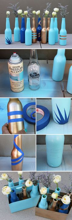 Make cool DIY projects with beer bottles. Get into upcycling and make awesome beer bottle crafts for your home. Try making beer bottle glasses and much Beer Bottle Crafts, Beer Crafts, Craft Beer, Cork Crafts, Shell Crafts, Old Wine Bottles, Wine Bottles Decor, Decorated Wine Bottles, Painted Glass Bottles