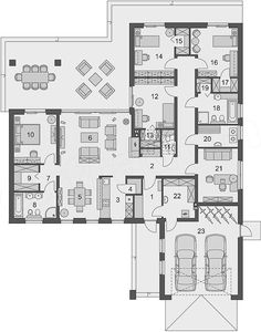 Rzut parteru projektu Otto 2 PS Dream House Plans, House Floor Plans, My Dream Home, Small House Design, Modern House Design, Interior Design Living Room, Planer, Building A House, Architecture Design