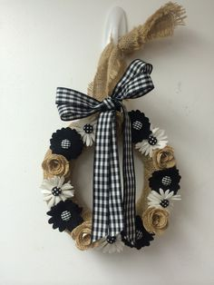 Wreath - burlap buttons black and white checks and polka dots ribbon crafts handmade flowers woolfelt pairofpetals.com