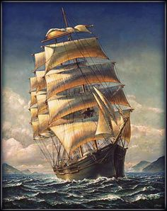 Sailing The WR Grace Canvas Art Print by John Stephens - Schiff Stürmische See, Bateau Pirate, Old Sailing Ships, Ship Drawing, Ship Paintings, Boat Art, Wooden Ship, Sail Away, Ship Art