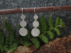 Silver Earrings,  long drop, leaf circles £15.00
