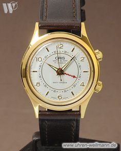 Oris 418-7307, Wecker, Größe Medium, vergoldet, Handaufzug