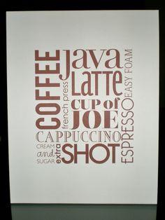 Typography Artwork Print Kitchen Decor Coffee by LittleLadyCompany, $18.00