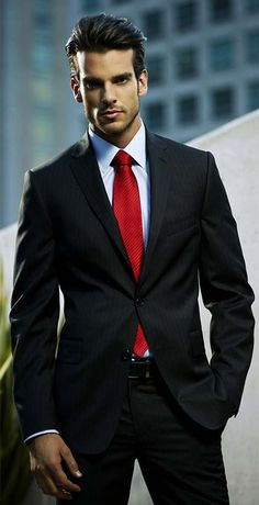 Black Suit, Red Tie, White Shirt