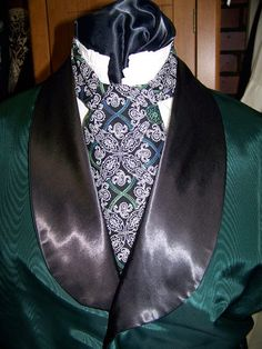 Ascot or Carvat White and Black Floral Paisley by civilwarlady, $14.95