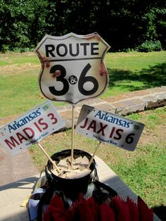 Route 3 & 6 highway themed double birthday