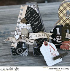 Love these An ABC Primer altered letters by Miranda! Love these! #graphic45