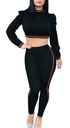 6d280fec80c Remelon Womens Flare Long Sleeve Stripe Bodycon 2 Piece Oufits Jumpsuits  Crop Top and Pants Set Tracksuits Black S   Click for more Special Deals ...