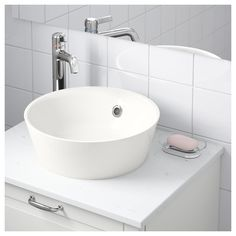 IKEA KATTEVIK countertop wash-basin Unique water trap design gives room for a full sized drawer. Small Bathroom, Wash Stand, Basin White, Sink Countertop, Countertops, Cheap Kitchen Remodel, Kitchen Remodel Countertops, Ikea, Sink