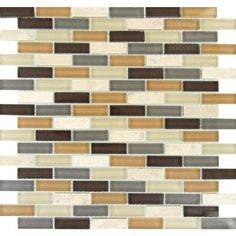 Mosaic Multi Glass and Valley Brick 12x12 Tile   Home Depot #895207