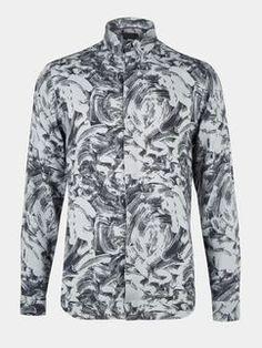 Grey Long Sleeve Printed Viscose Shirt